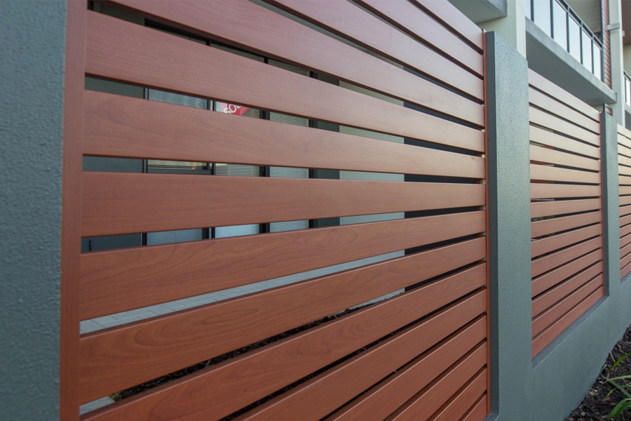 wooden veneer slat fence